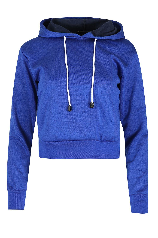 womens long sleeve cropped top ladies pullover plain fleece sweatshirt hoody ebay. Black Bedroom Furniture Sets. Home Design Ideas