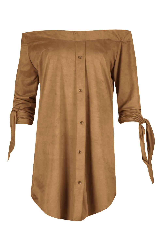 Womens Ladies Suede Off the Shoulder 3/4 Tie Sleeves Curved Hem Shirt Dress Top