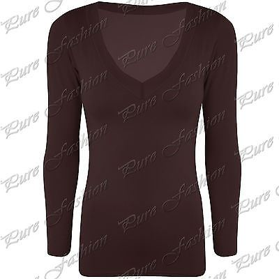 Womens-V-Neck-Plain-Casual-Jersey-Stretchy-Ladies-Long-Sleeves-Tunic-T-Shirt-Top