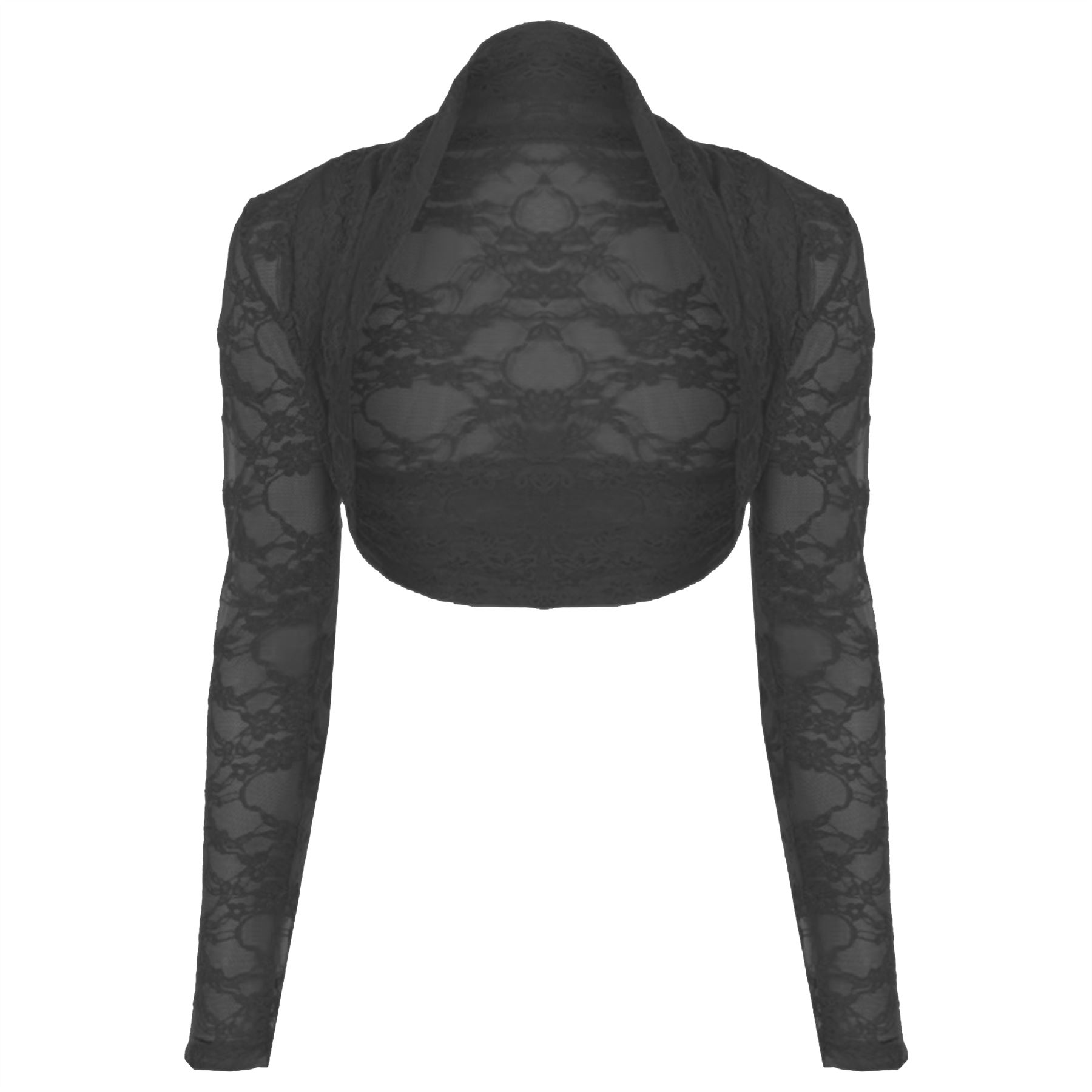 Womens-Ladies-Lace-Cropped-Open-Bolero-Long-Sleeve-Cardigan-Shrug-Top-Plus-Sizes