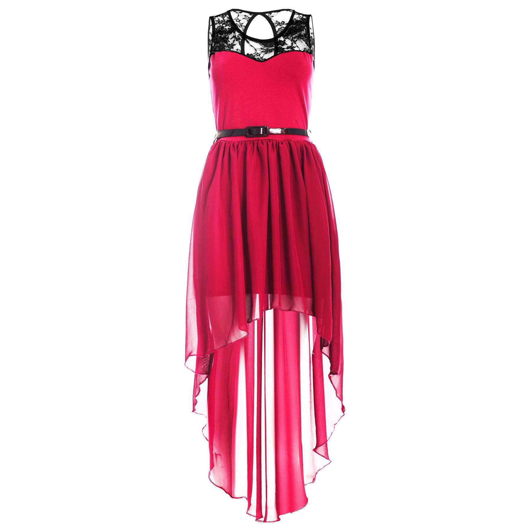 Womens-Ladies-Dip-Hem-High-Low-Assymetric-Lace-Chiffon-Belted-Mixi-Midi-Dress