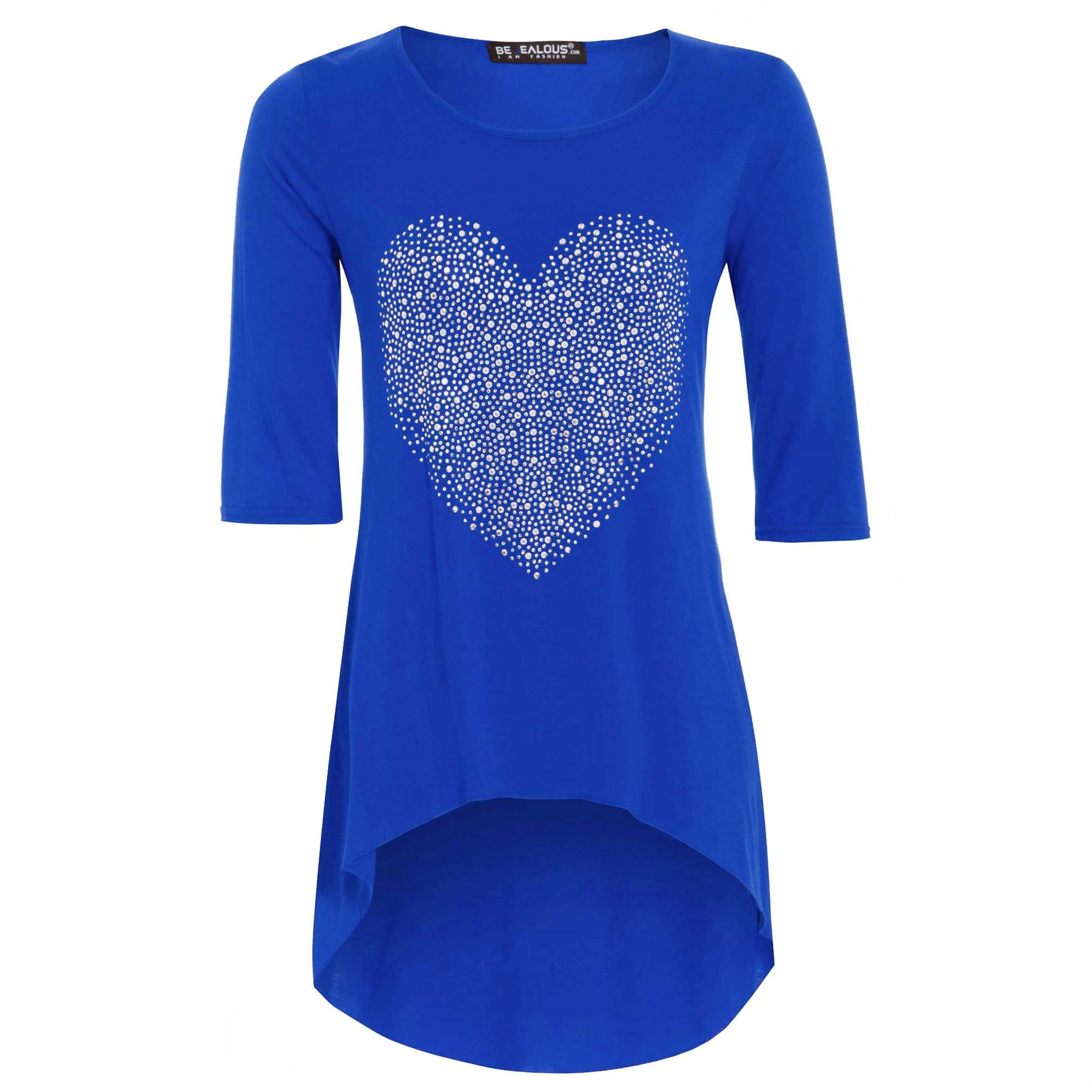 New-Womens-Ladies-3-4-Sleeves-Studded-Heart-Dip-Hem-High-Low-Tunic-Top-Plus-Size