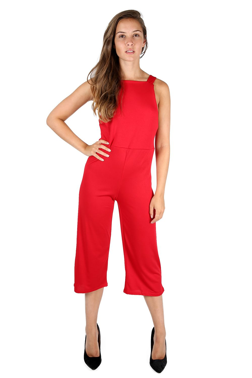 Womens Ladies 3/4 Length All In One Dungaree Wide Leg Palazzo ...