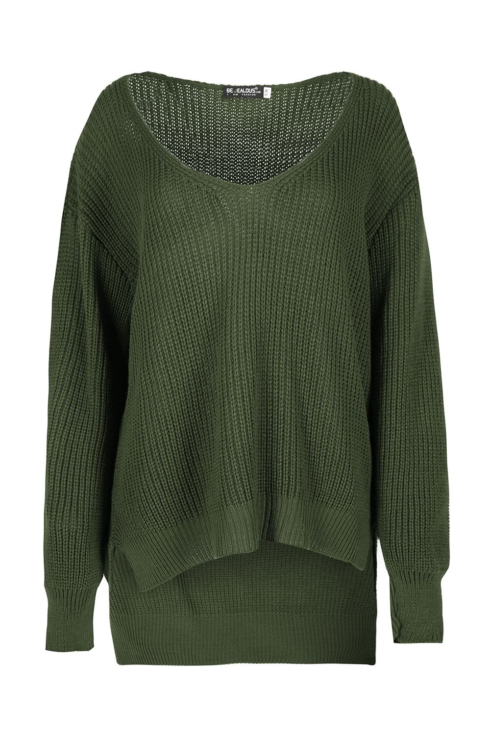 Ample pour dames tricot grosse maille col v profond paule d nud e pull over - Tricot grosse maille ...