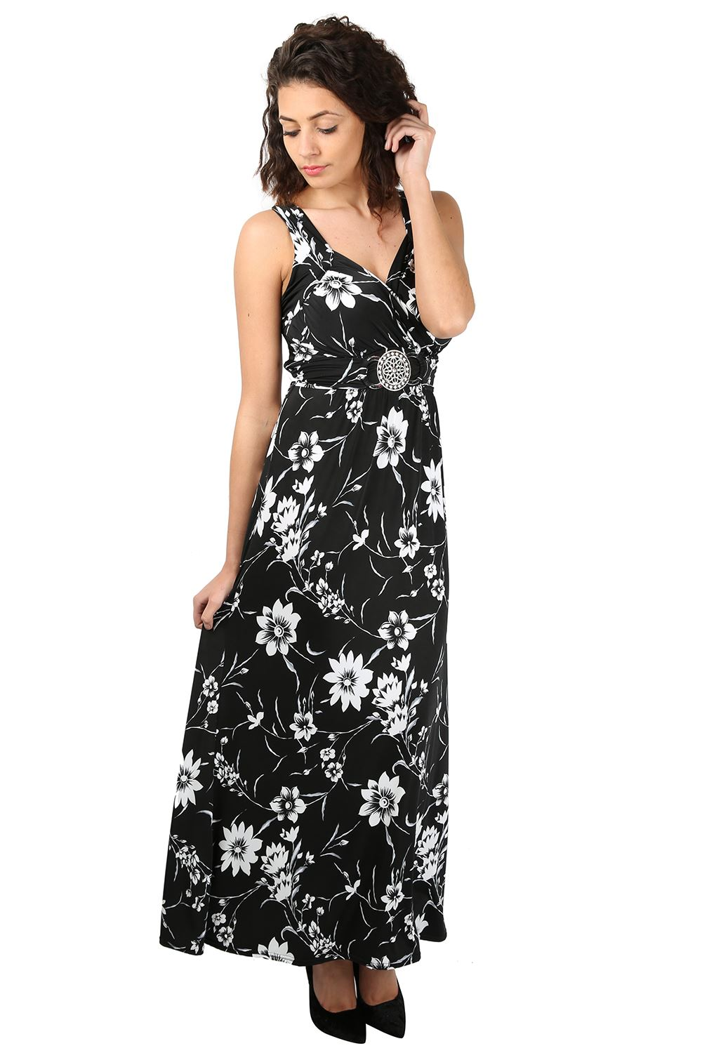 Womens Long Maxi Dress Ladies Sleeveless Daisy Floral ...