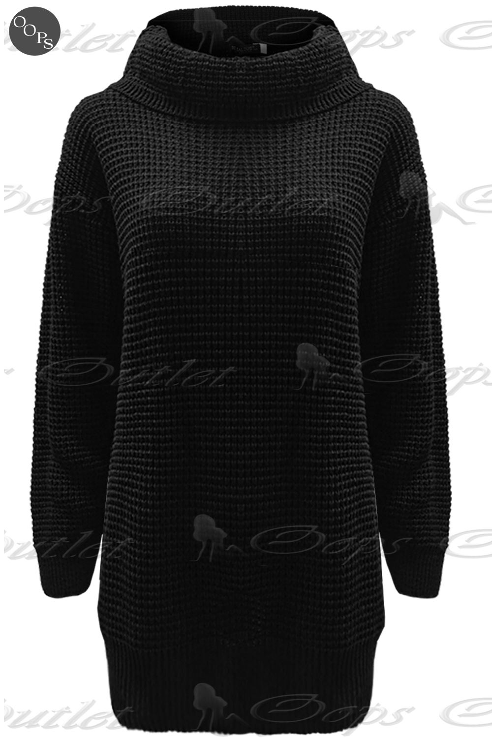 Ladies Chunky Knitted Womens Long Sleeve Oversized Roll Cowl Neck Jumper Dress