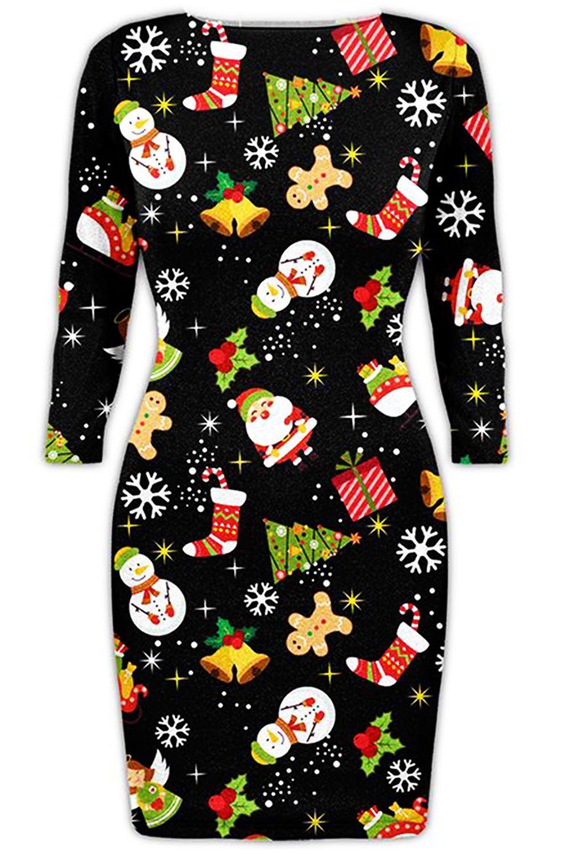 Ladies christmas bodycon womens xmas santa reindeer rudolph snowflake