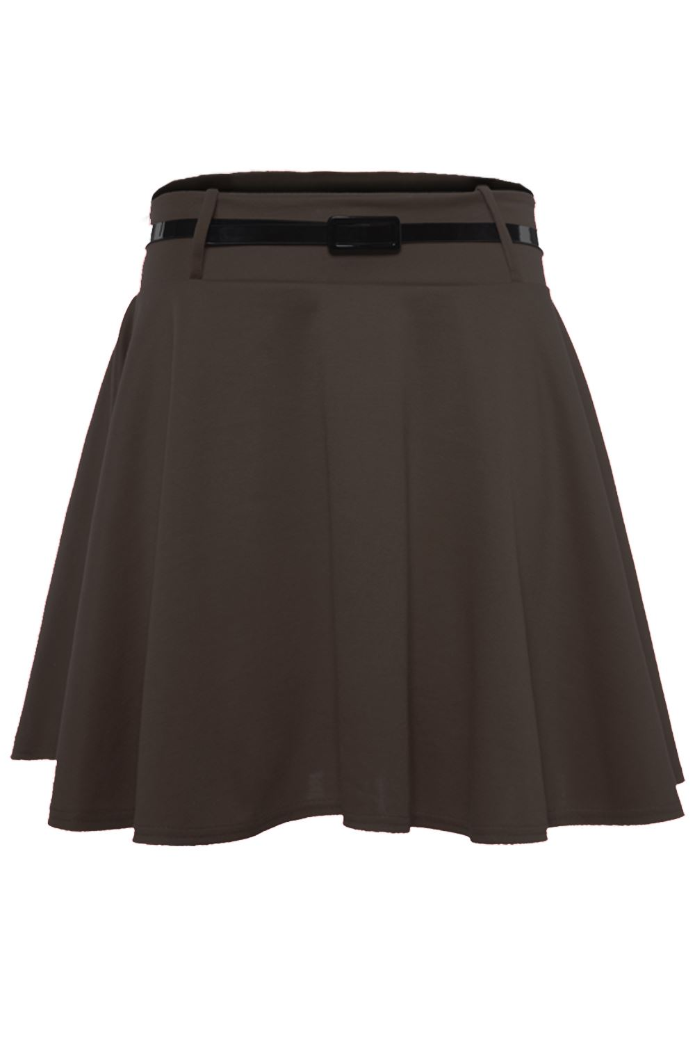 Ladies Womens Belted Skater Flared Flippy Jersey Sexy Party Plain Mini Skirt