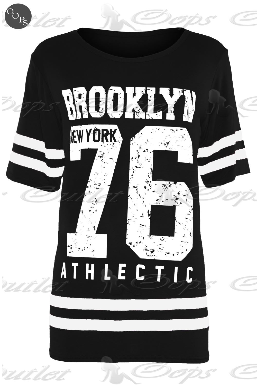 Womens Ladies USA American Varsity Baseball Oversize Baggy T Shirt Top Plus Size