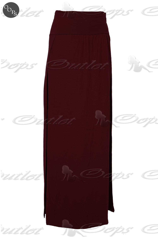 Womens Ladies Double Split Slit High Waisted Swing Long Jersey Skater Midi Skirt