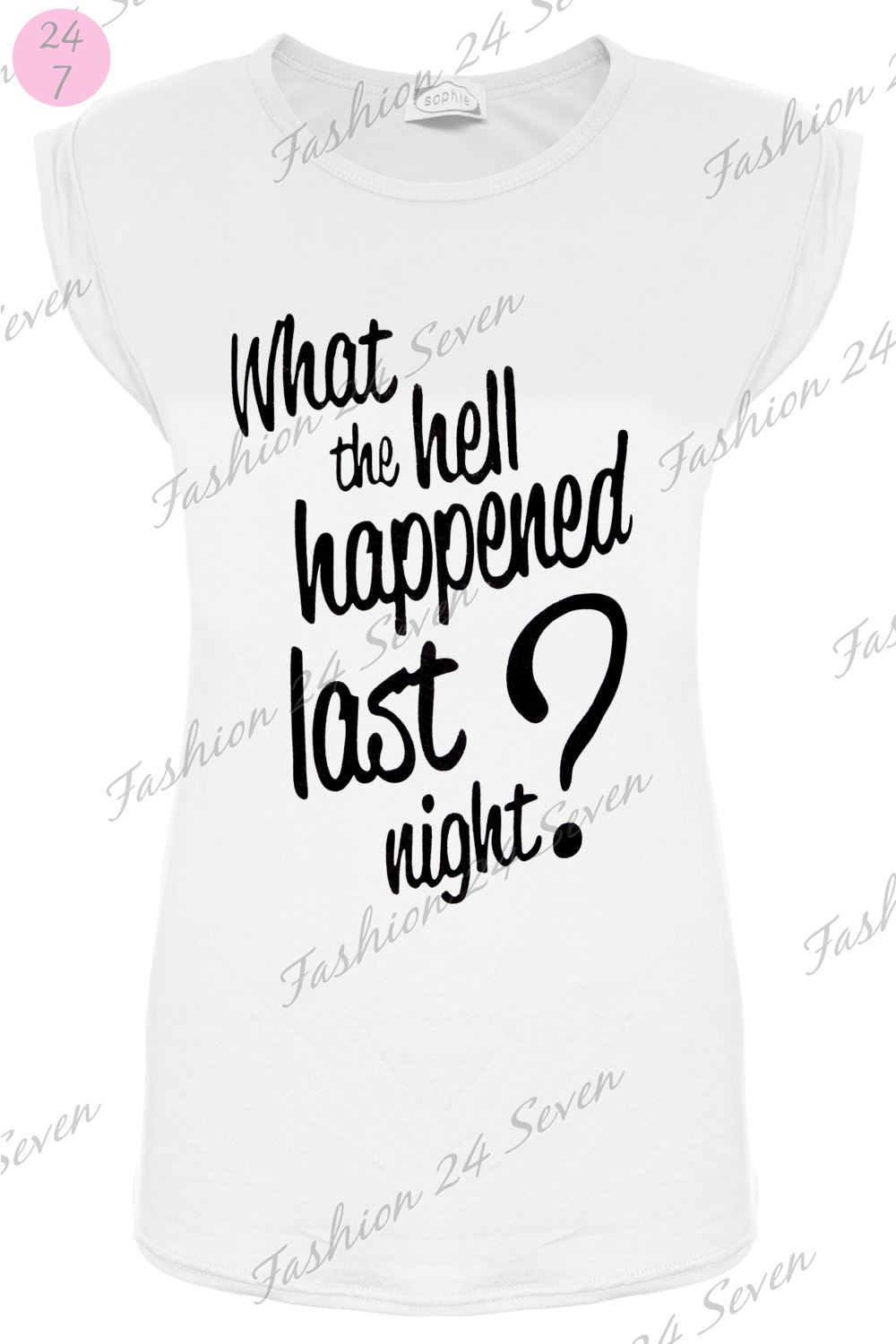 Womens Ladies What The Hell Happened Last Night ? Print Cap Sleeve T Shirt Tops