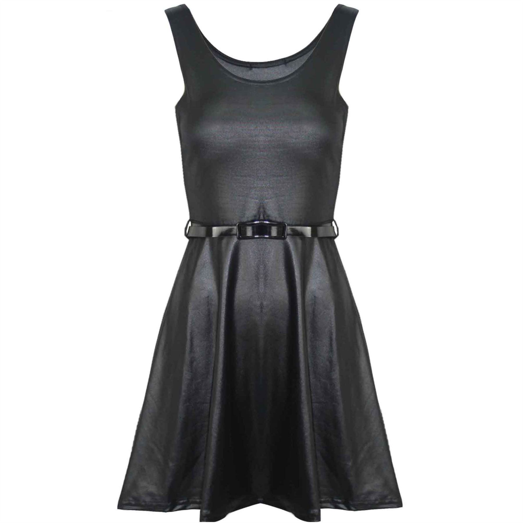 Womens Ladies Wetlook Belted Dress Sleeveless PVC Faux Leather Flared Tunic Top
