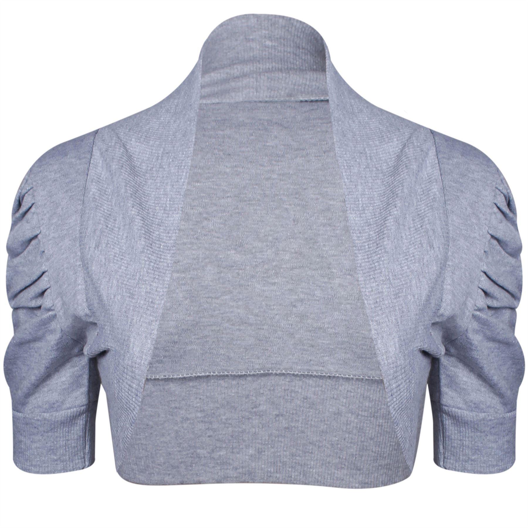Womens Ladies Plain Cap Short Sleeve Ribbed Front Open Cardigan ...