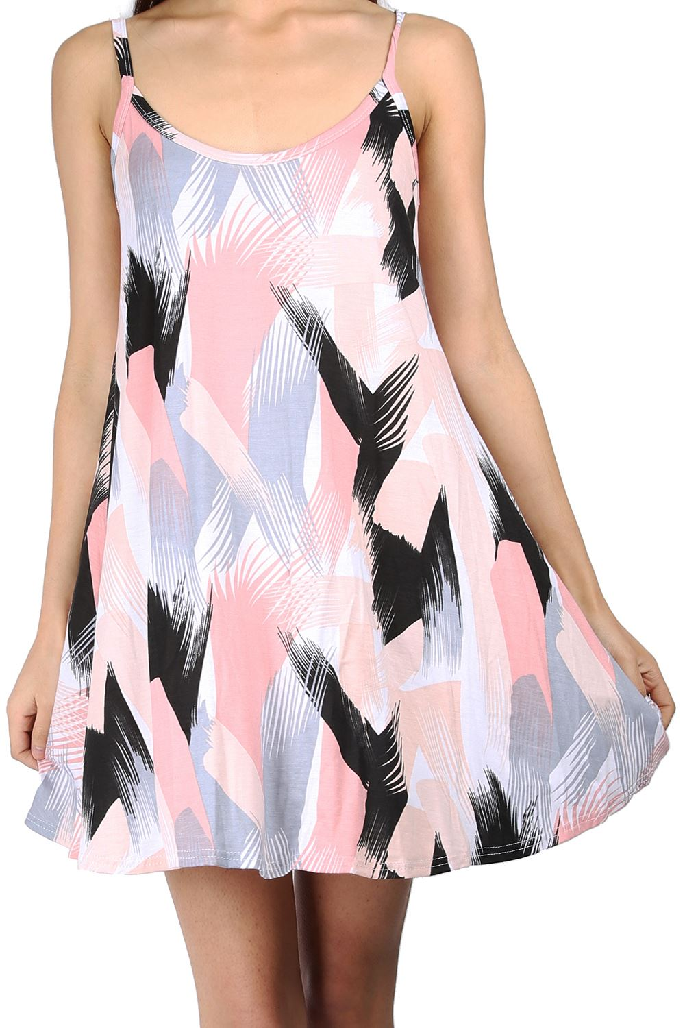 Womens Ladies Printed Strappy Sleeveless Flared Vest Swing Dress Top Plus Size