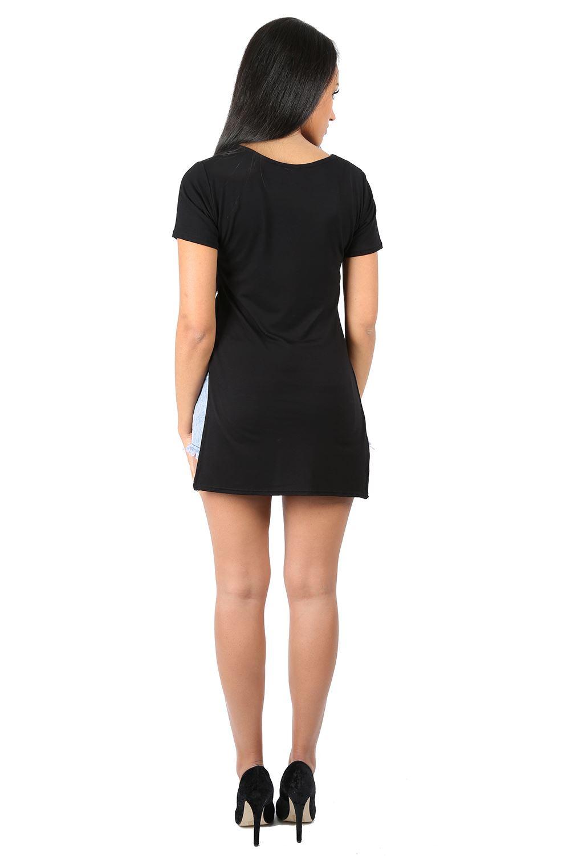 Womens Ladies Short Sleeve Plain Side Split Slit High Low Long Tee T Shirt Top