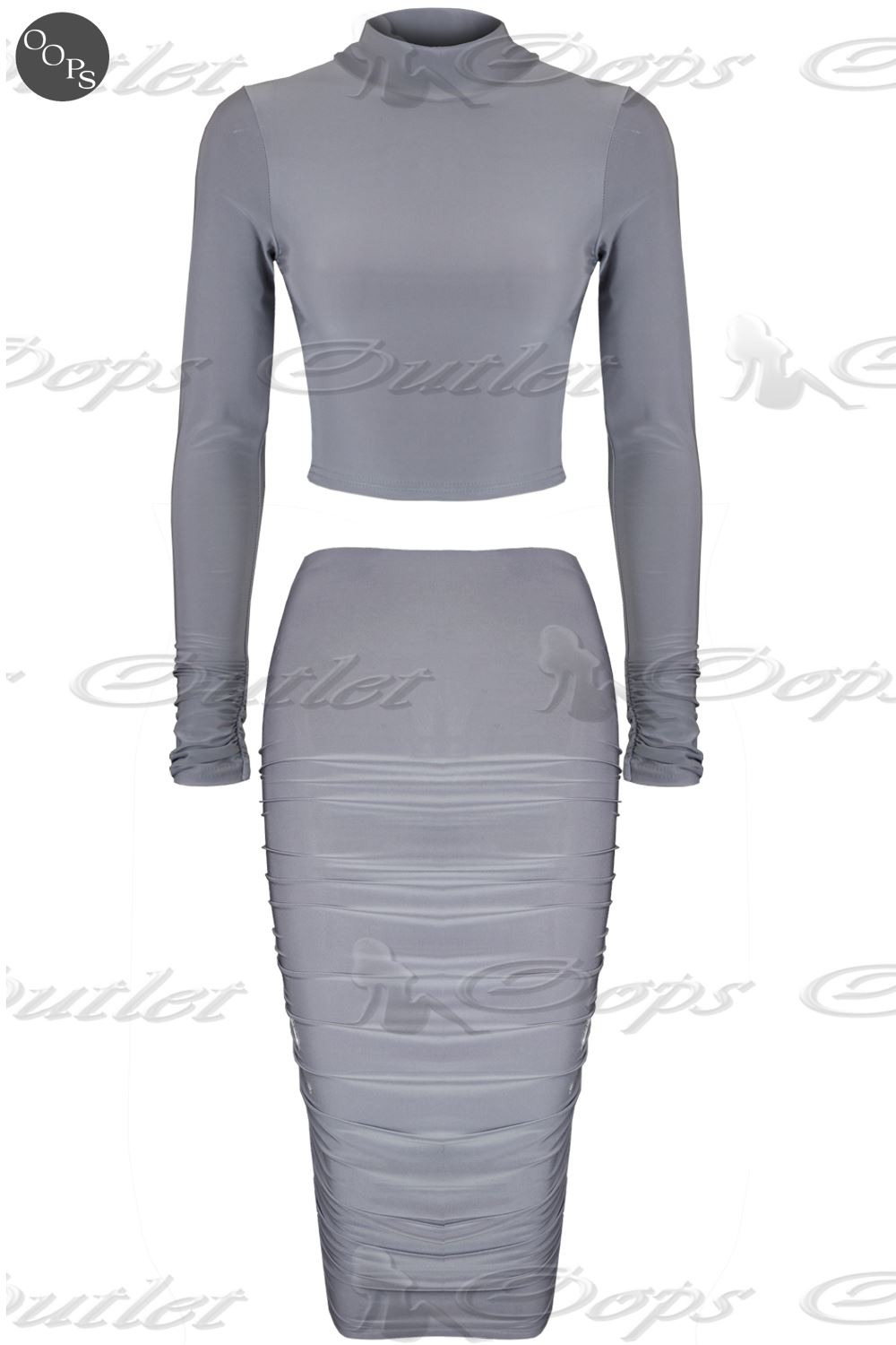 Womens Ladies Celebrity Inspired Polo Neck Crop Top Ruched Midi Skirt Co-Ord Set