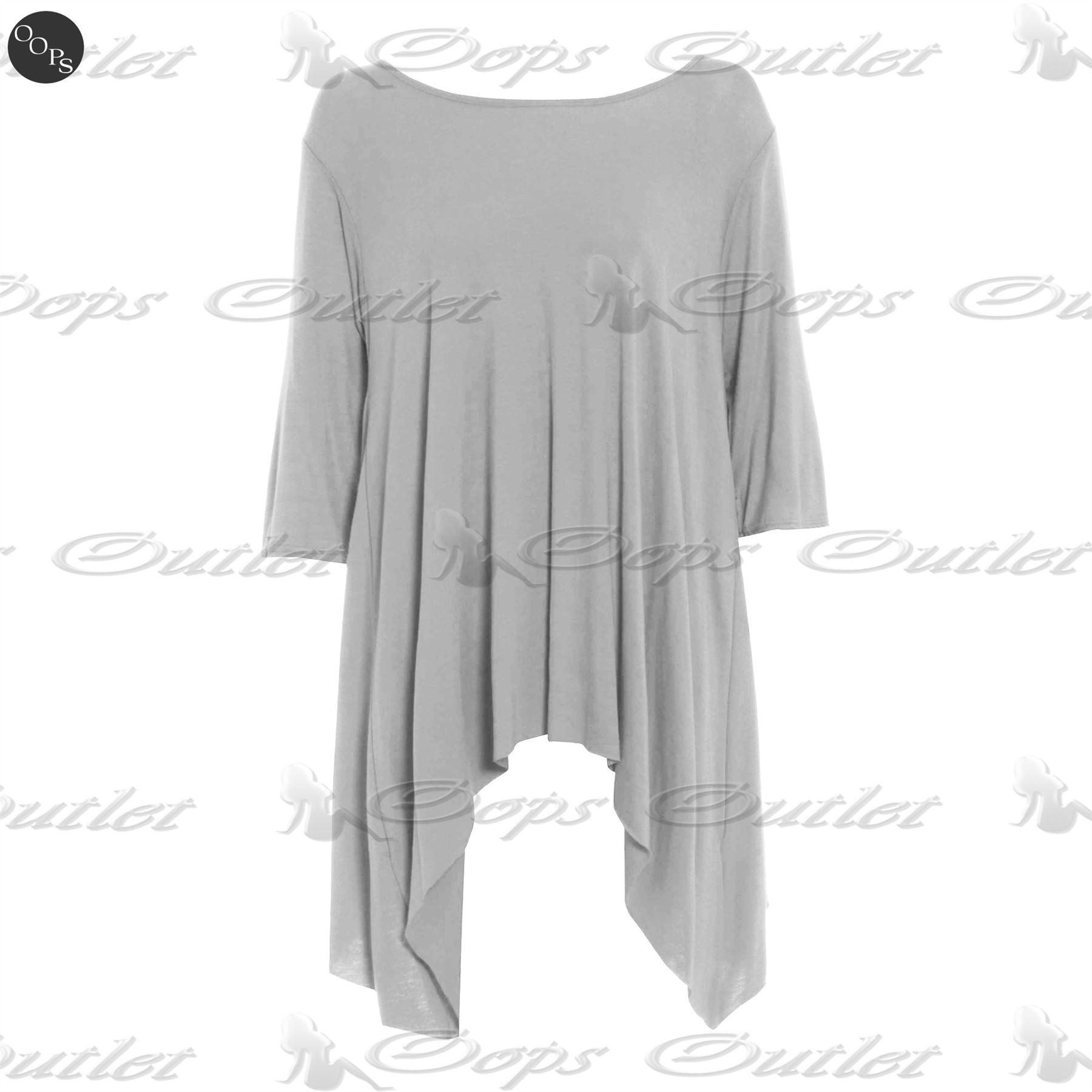 Womens Ladies Plain Flared Waterfall Swing Hanky Hem Long Top Dress Plus Size