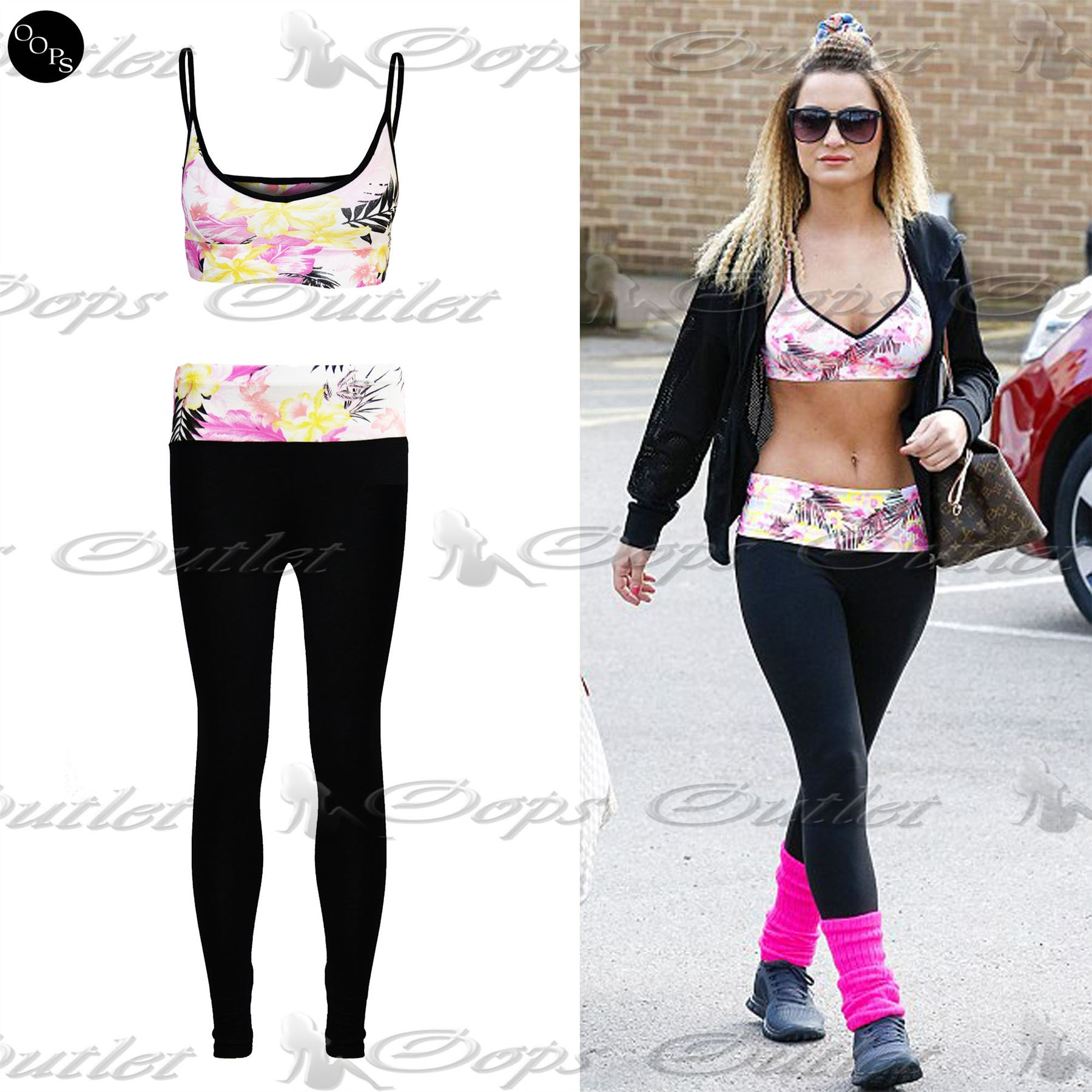 4c9d04ace6e4c Womens Celeb Floral Bralet Ladies Crop Top High Waist Leggings 2 Two ...