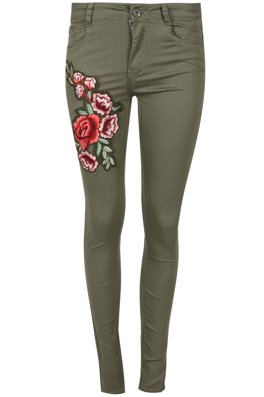 Women Ladies Flower Floral Red Rose Embroidered Skinny Trousers Pant Denim Jeans | EBay