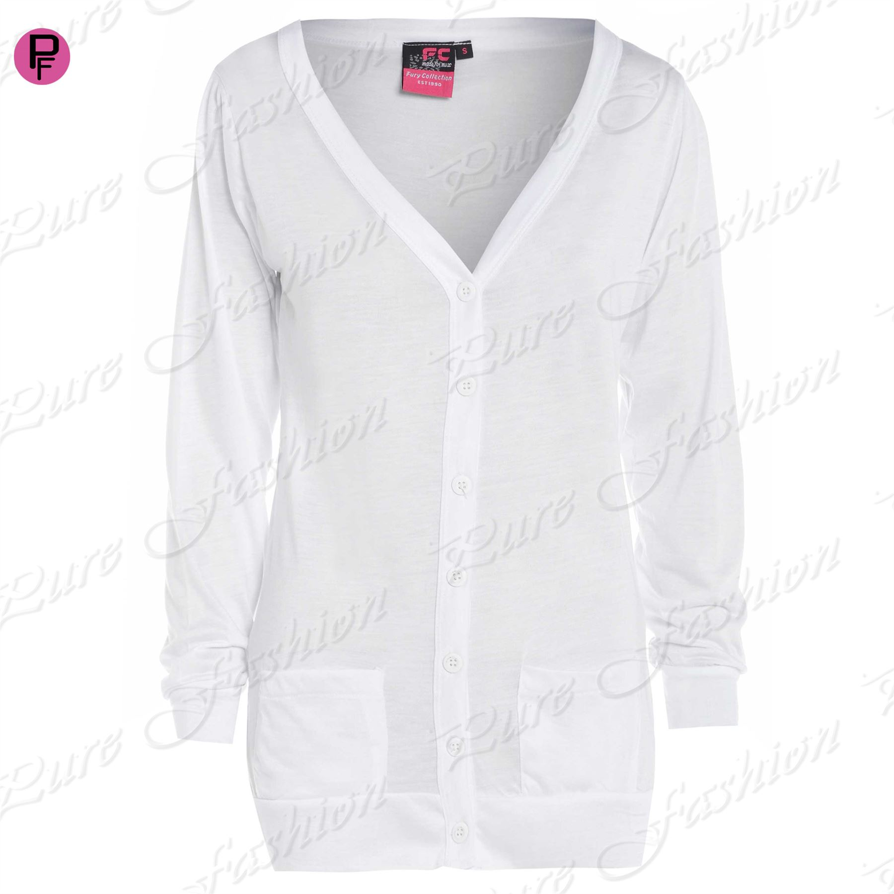 Womens Ladies V Neck Long Sleeve Pockets Button Up Boyfriend ...