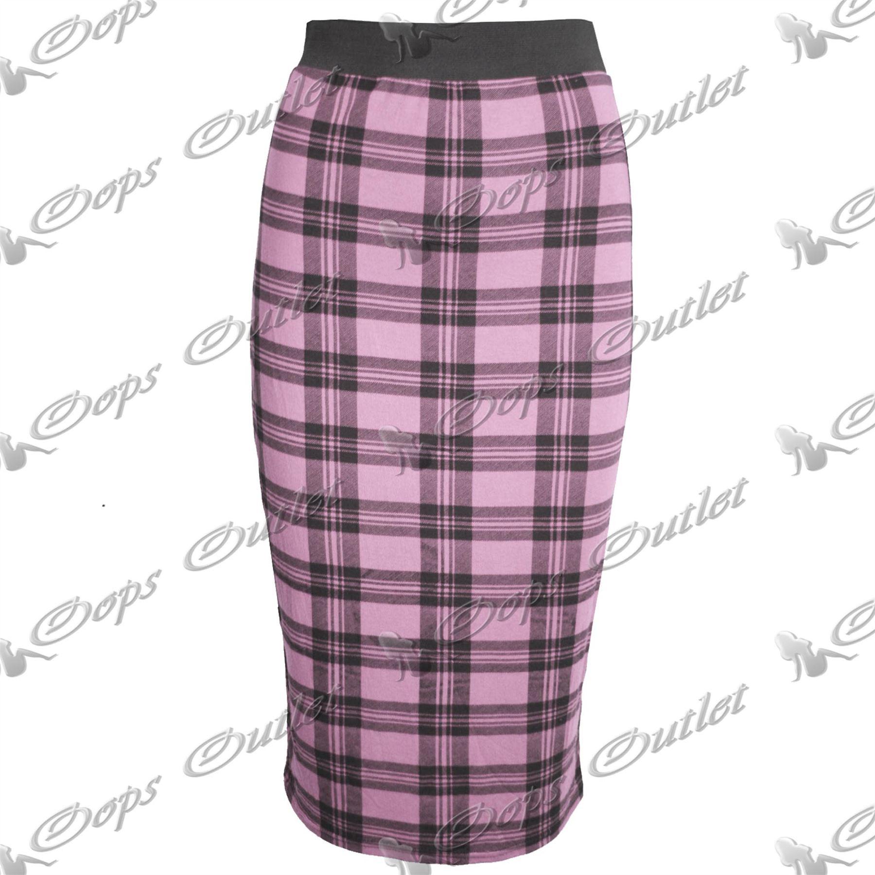 womens stretchy calf length bodycon wiggle tartan