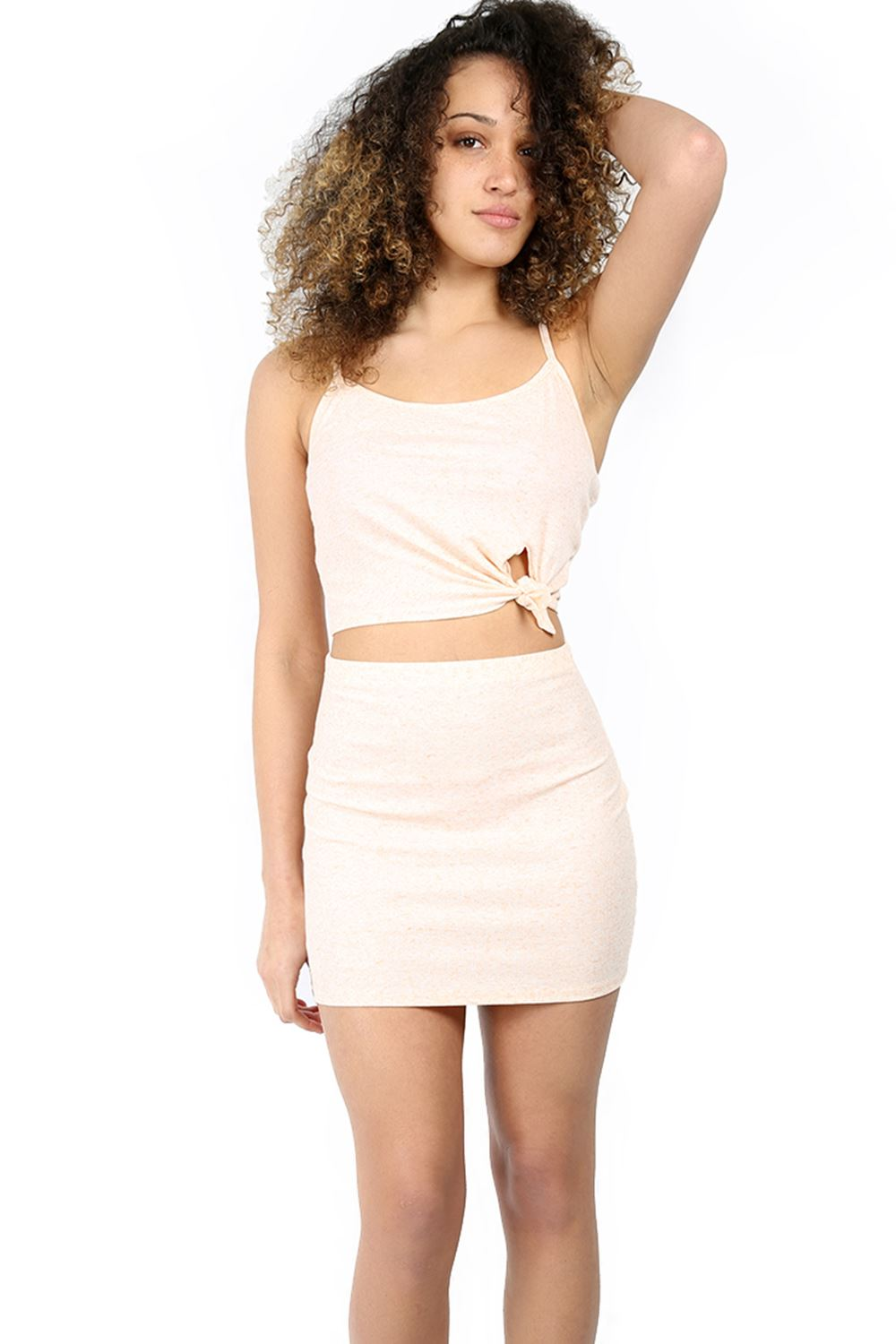 womens ribbed knot front crop top mini skirt