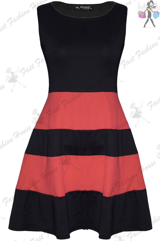 Ladies Flared Franki Block Stripe Panel Womens Sleeveless Skater Dress Plus Size