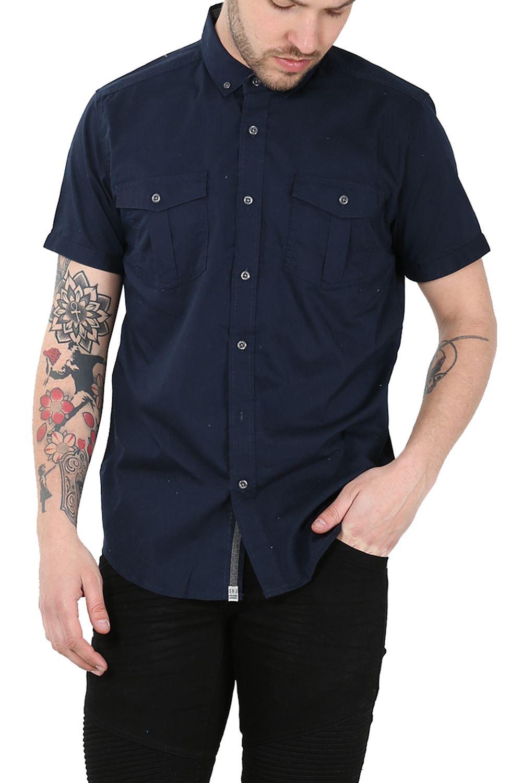 Mens Plain Front Pockets Button Down Short Sleeve Collard