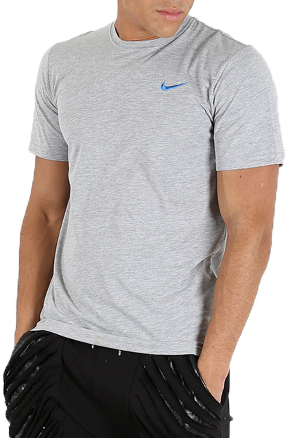 Nike mens t shirt crew neck embroidered swoosh logo short for Mens crew neck tee shirts