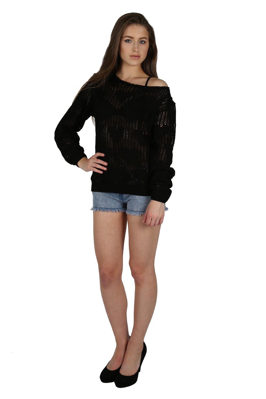 Womens Ladies Love Heart Crochet Knit Off Shoulder Bardot ...