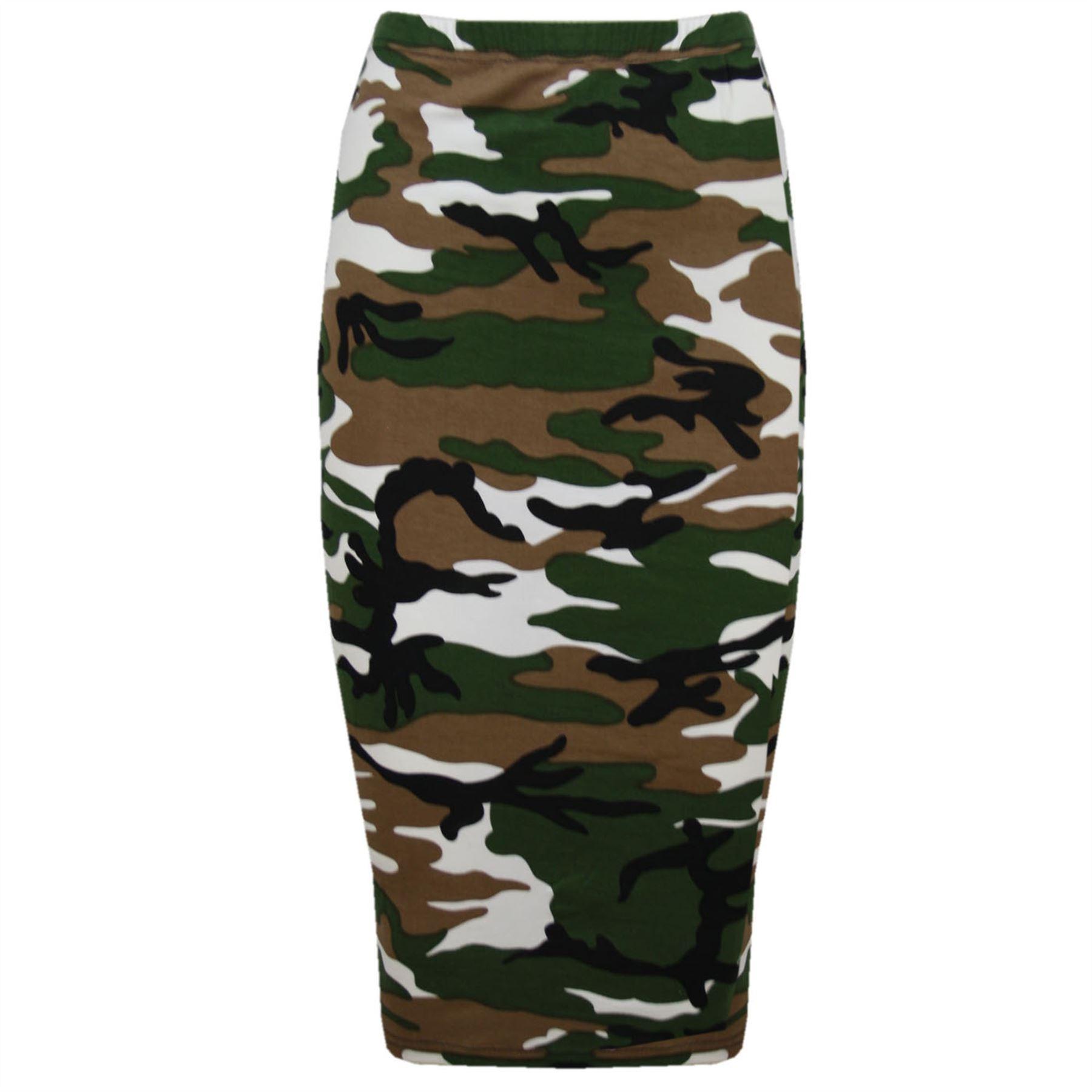 Womens Ladies Printed High Waist Wiggle Stretchy Tube Bodycon Pencil Midi Skirt