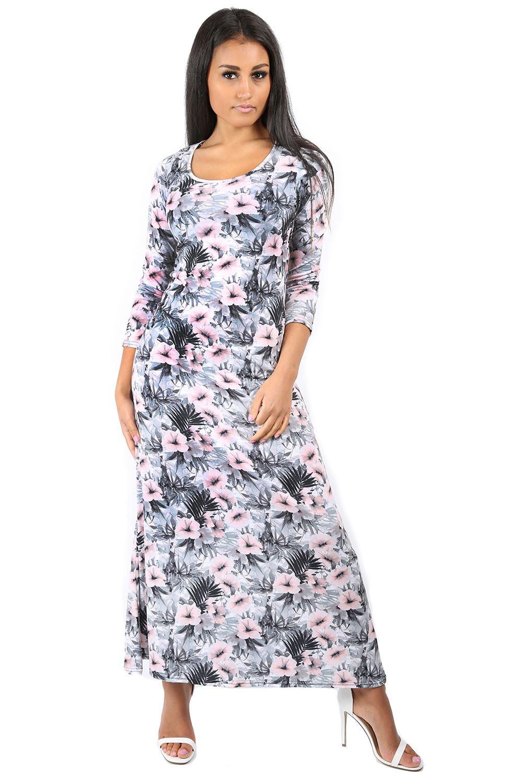 Womens Evening Maxi Dress Ladies Swing Dress 3/4 Sleeve ...