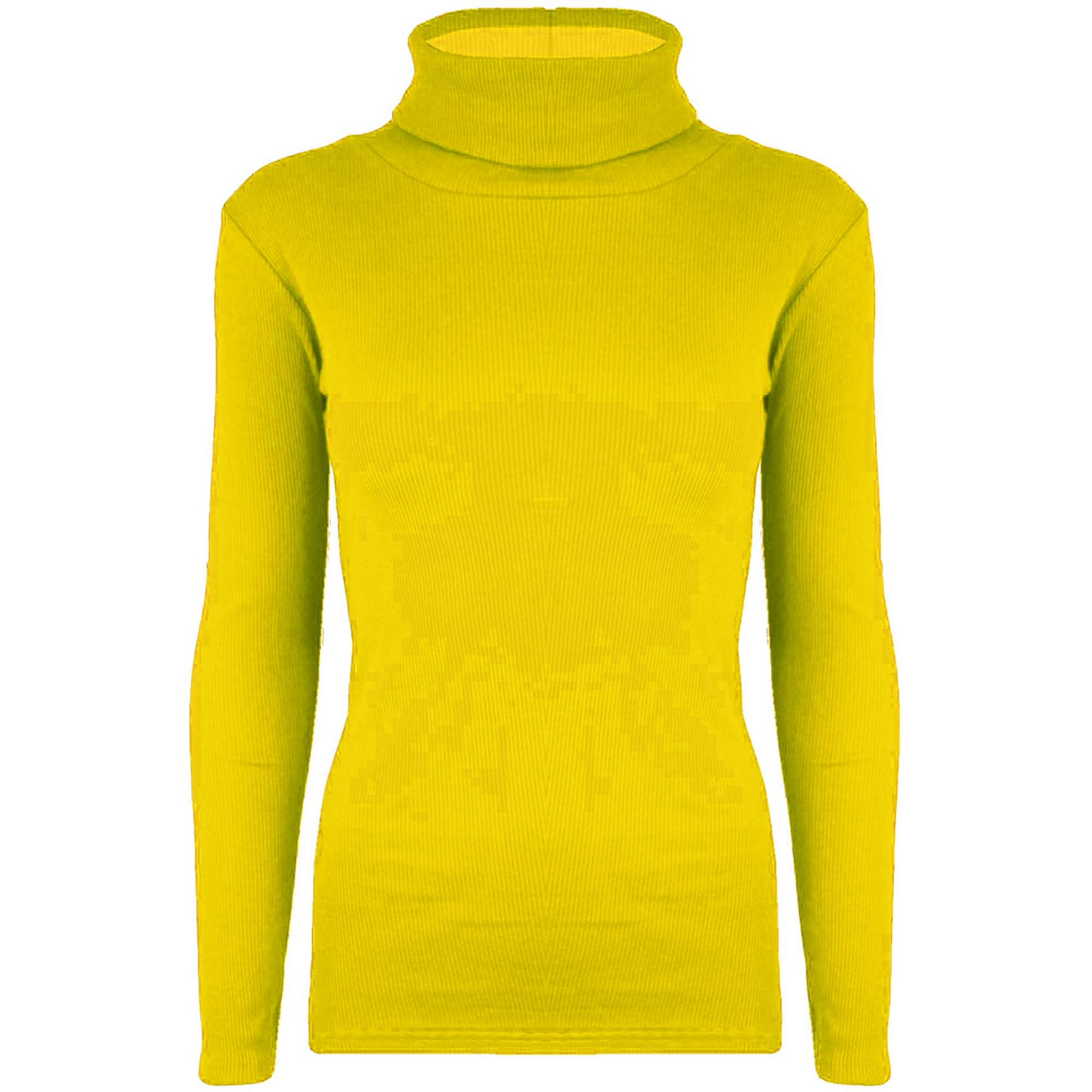 Ladies Ribbed Stretchy Fitted Turtle Roll Polo Neck Jumper Womens T Shirt Top