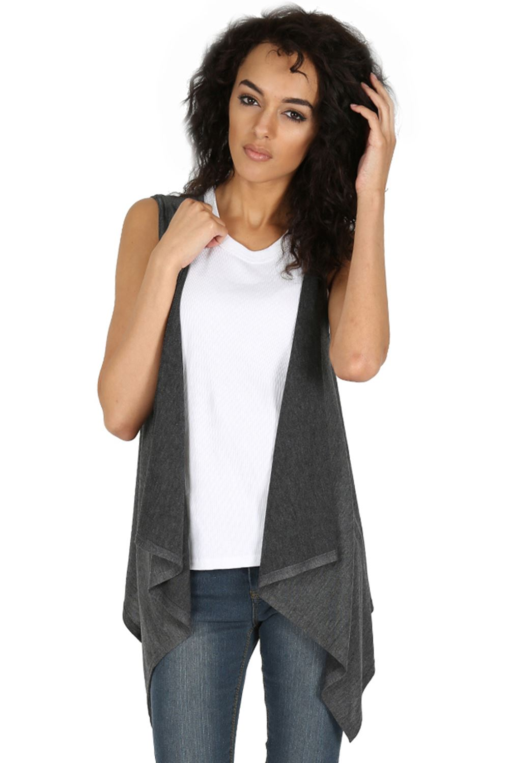 Womens Front Open Cardigan Ladies Knit Sleeveless Blazer ...
