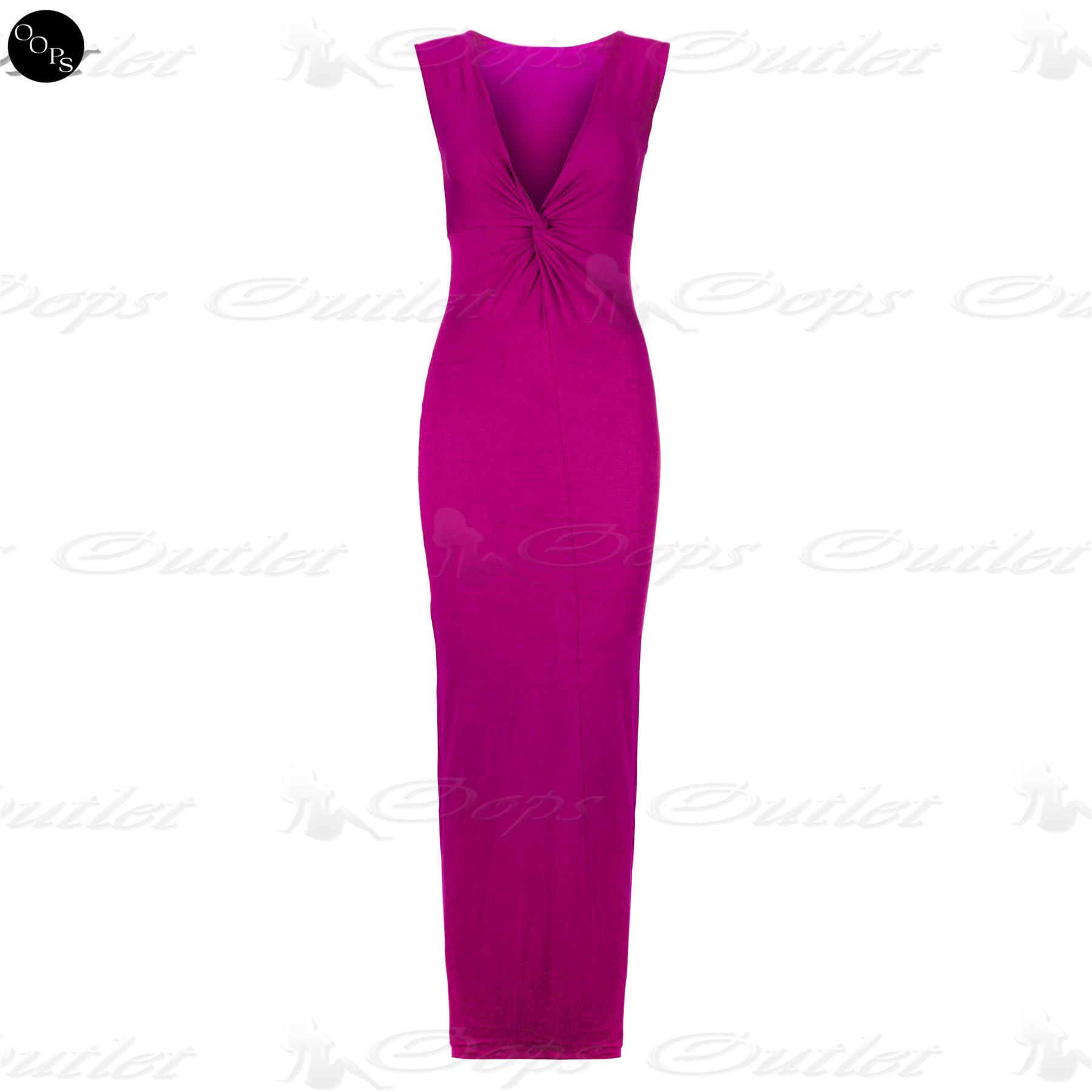Womens Ladies Knot Wrap Front Twist Celebrity Sleeveless Long ...