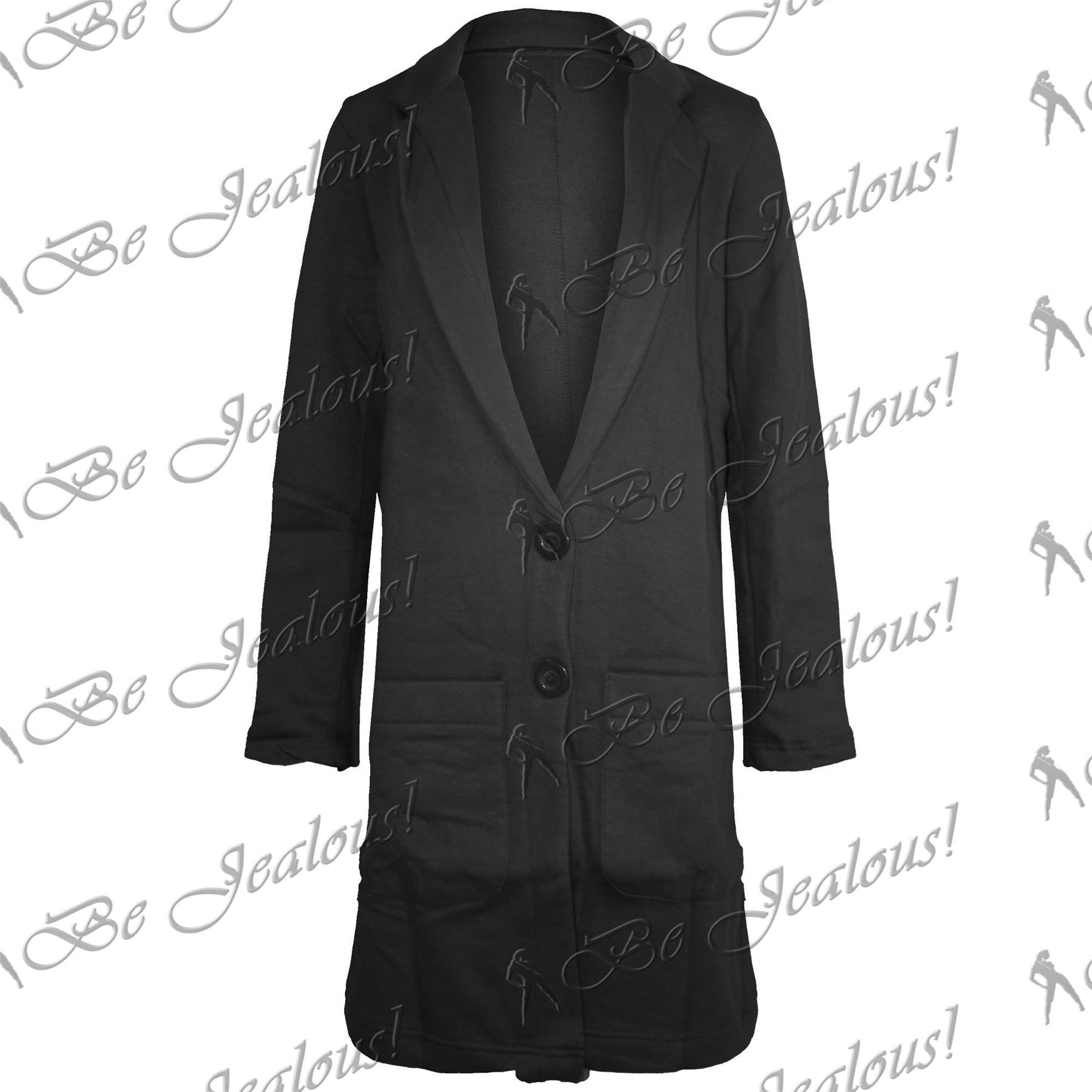 Womens-Ladies-Tartan-Long-Sleeves-Boyfriend-Front-Button-Long-Coat-Jacket-Blazer