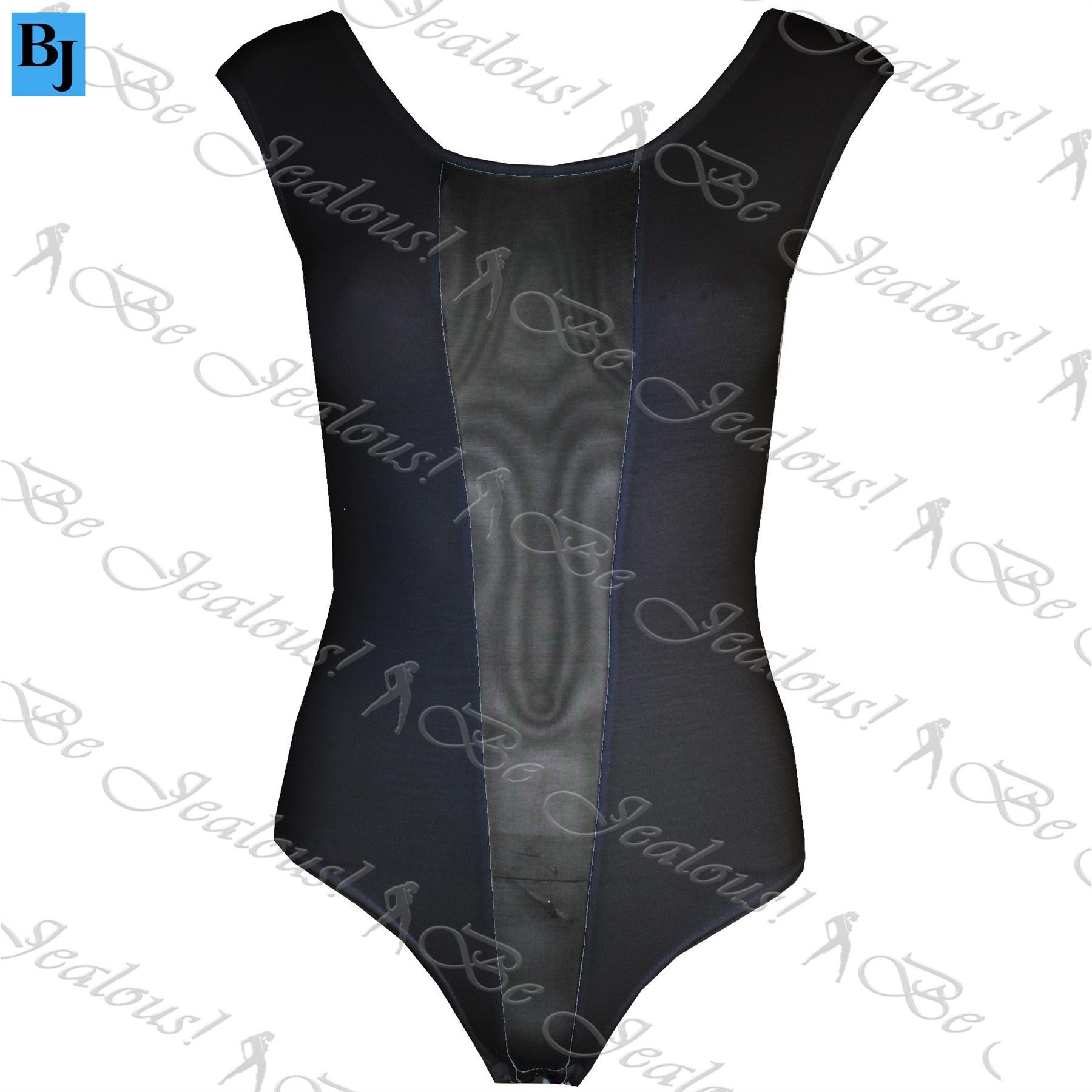 Womens Ladies Celeb Sleeveless Stretchy Mesh Insert Panel Bodysuit Leotard Top