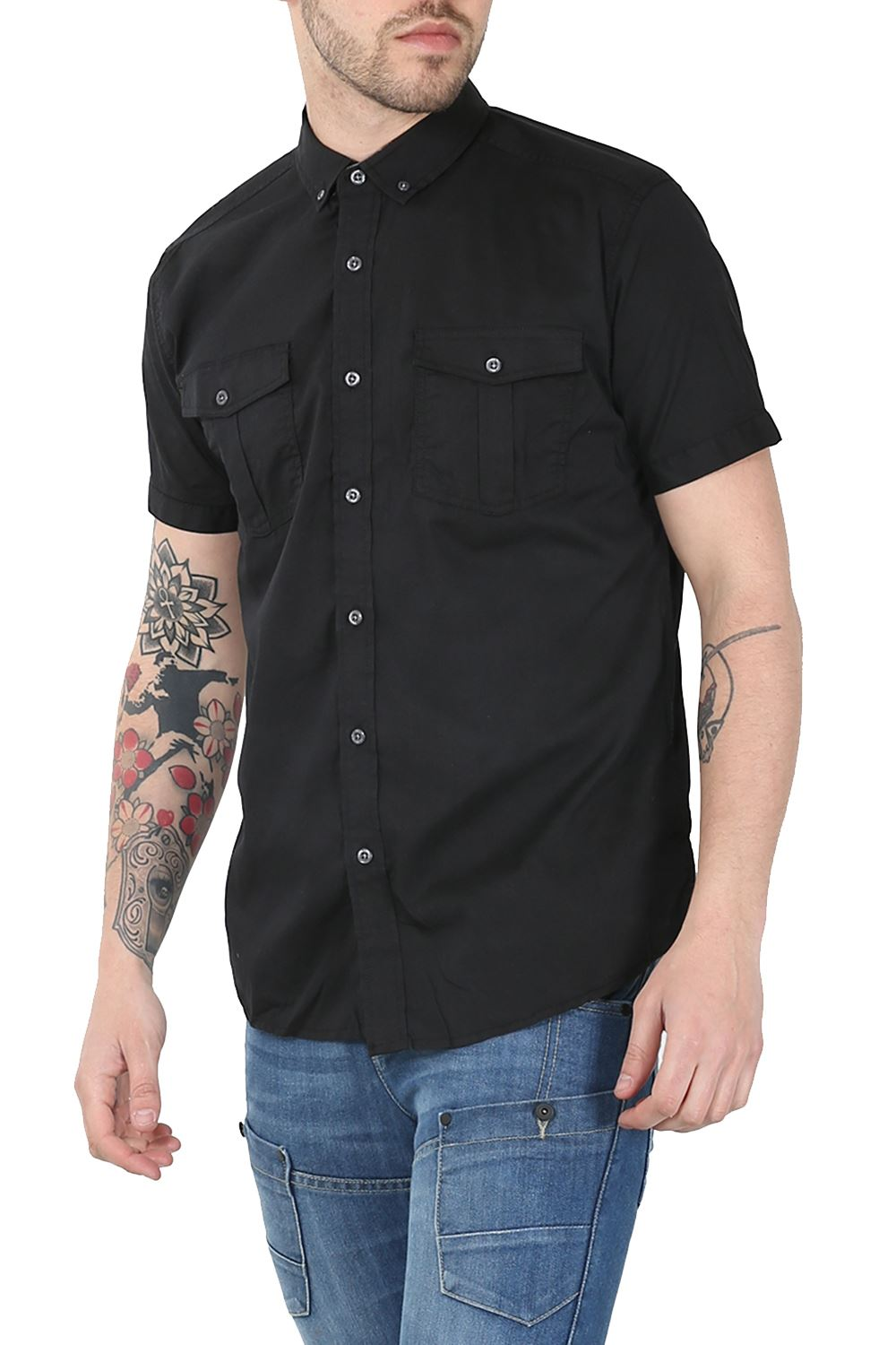 mens plain front pockets button down short sleeve collard