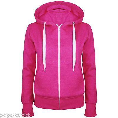 Womens Plain Hoody Zip Up Top Ladies Hoodies Sweatshirt Jacket ...