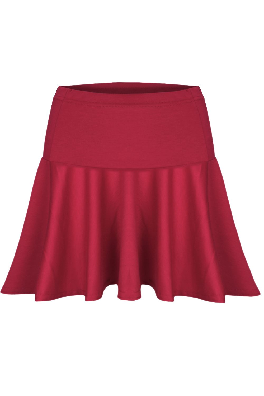 womens high waist flared franki plain pleated mini