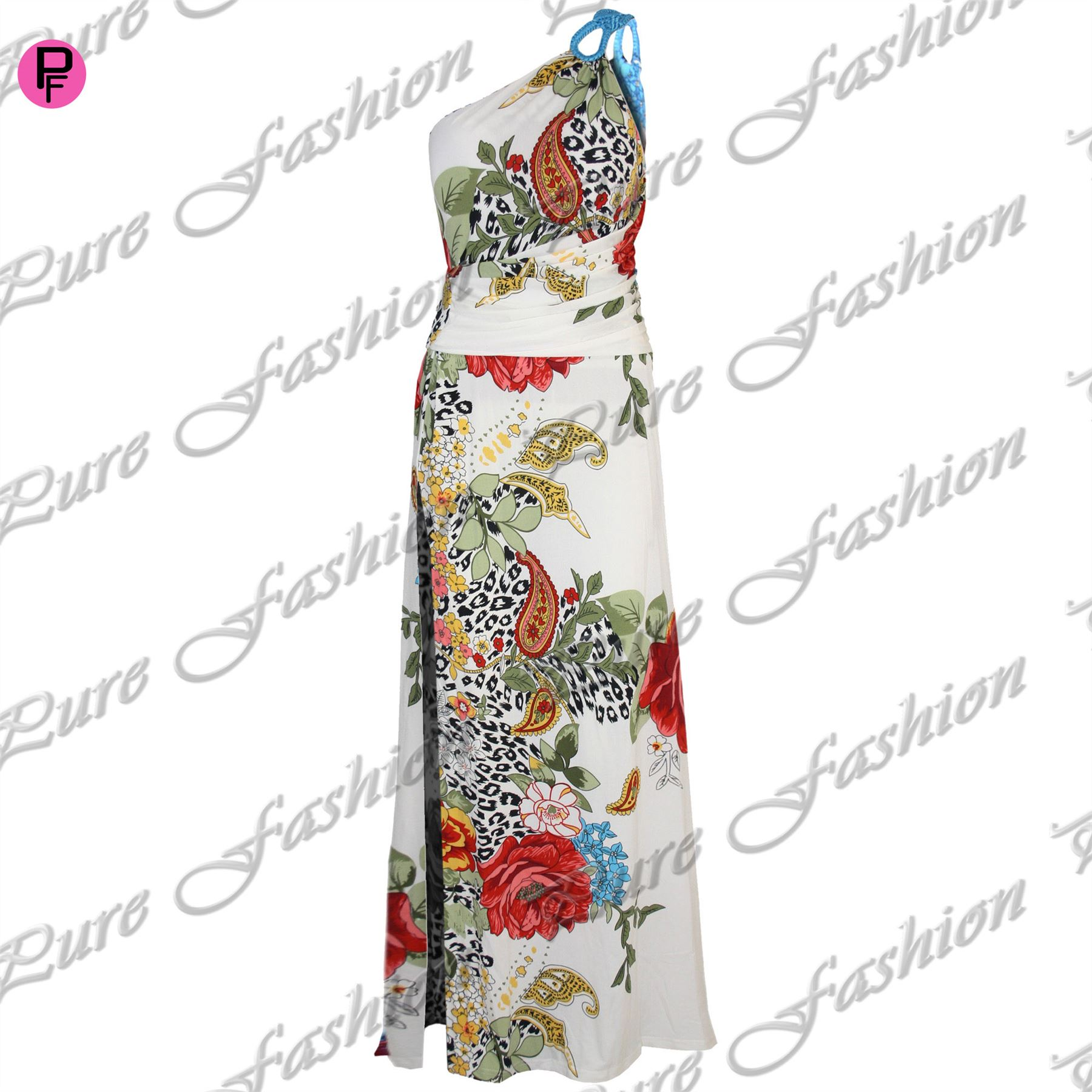 Womens-Ladies-One-Shoulder-Back-Cut-Out-Floral-Ruched-Side-Split-Long-Maxi-Dress