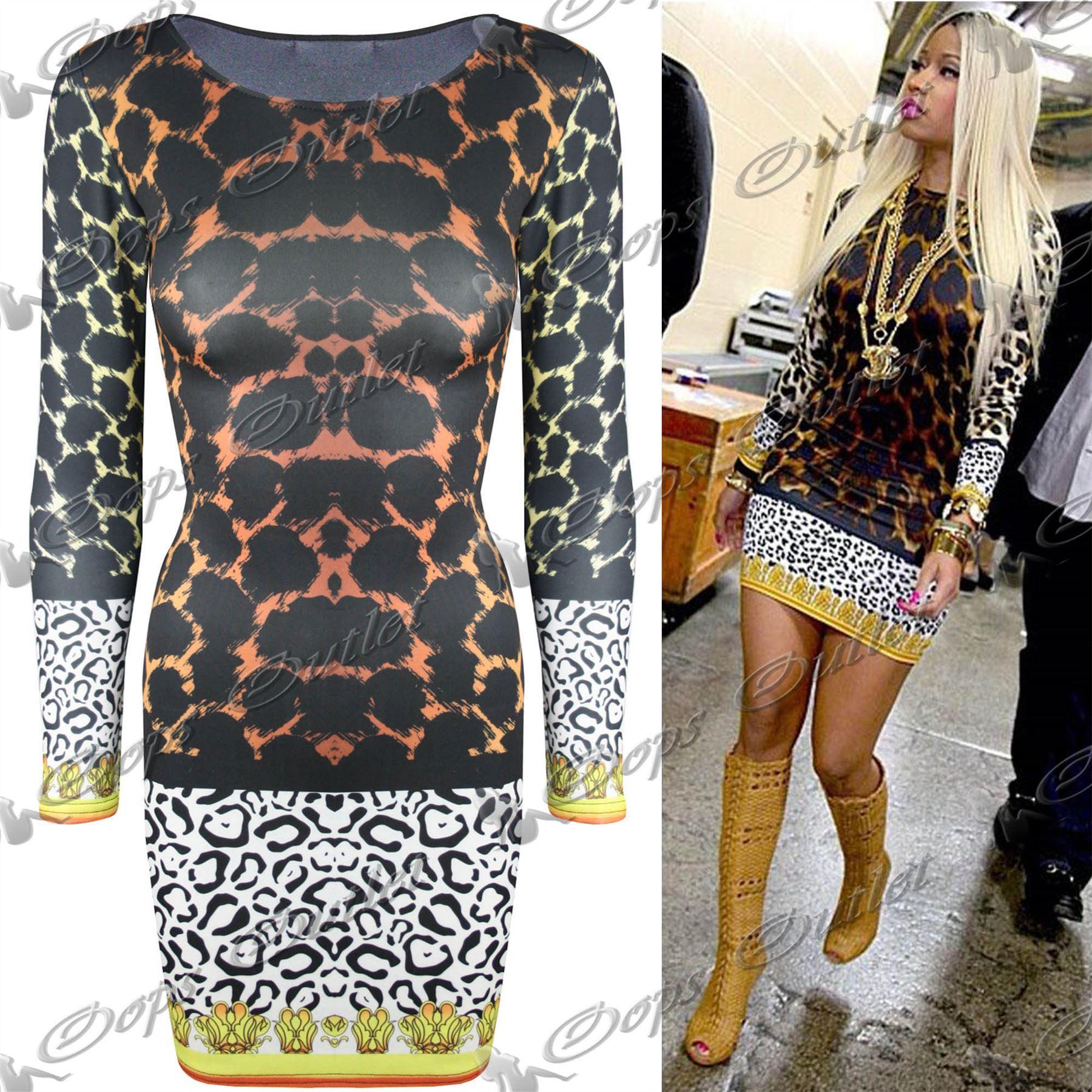 New Womens Ladies Celeb Nicki Minaj Bodycon Dress Tiger ...Nicki Minaj In Leopard Print