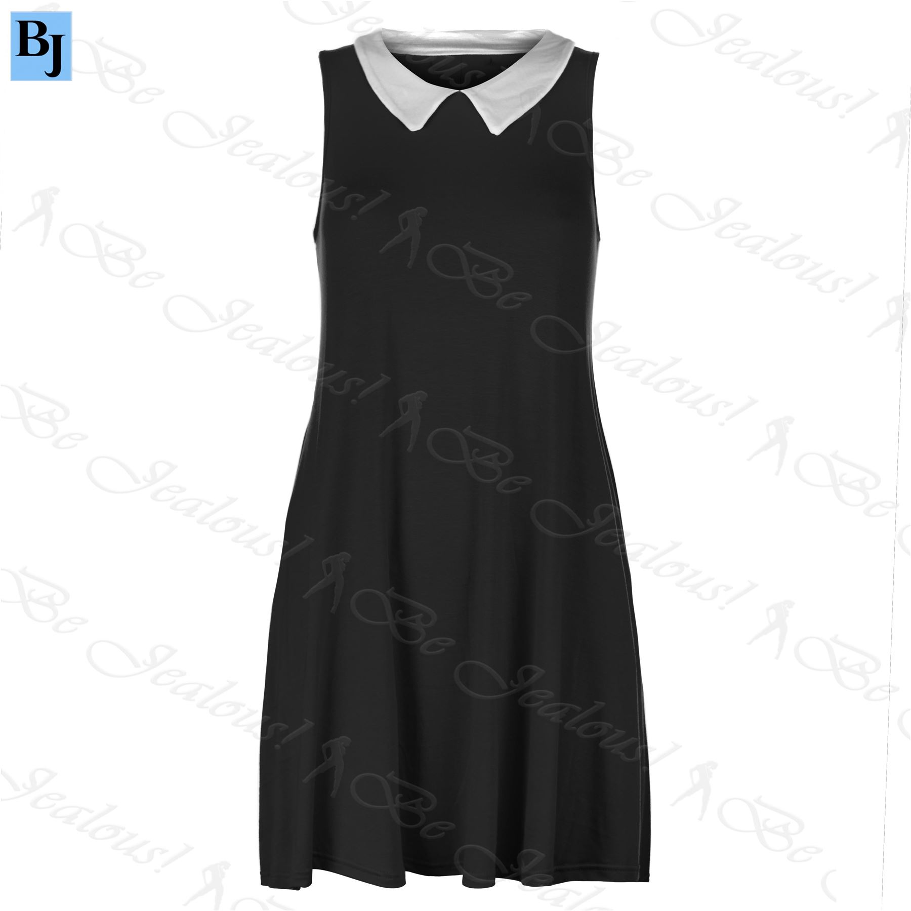 New Womens Ladies Sleeveless Stretchy Summer Contrast Collar Flared Swing Dress