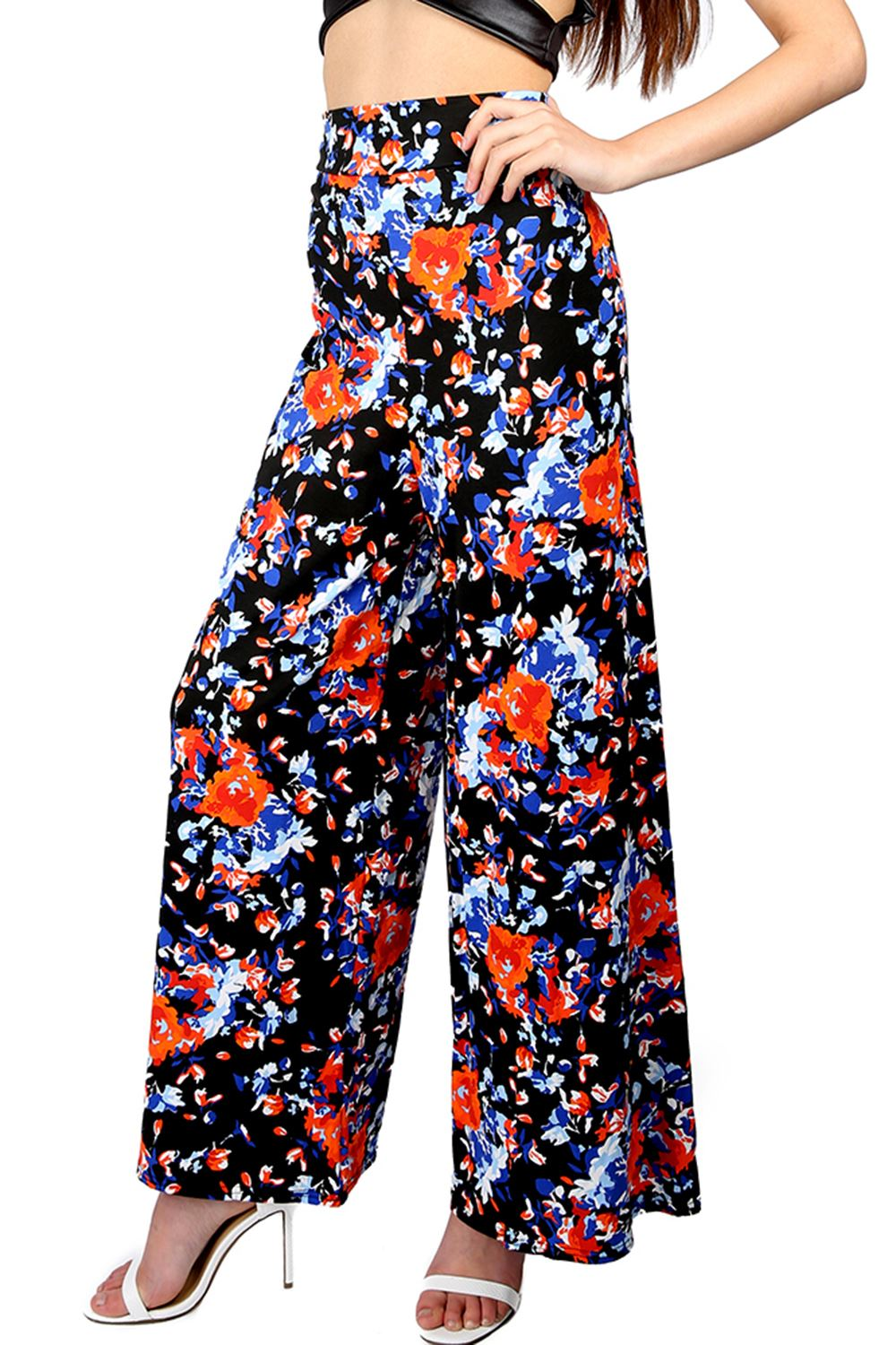 Amazing Womens Ladies Wide Leg Printed Flared Parallel Pants Trousers Palazzo Leggings | EBay