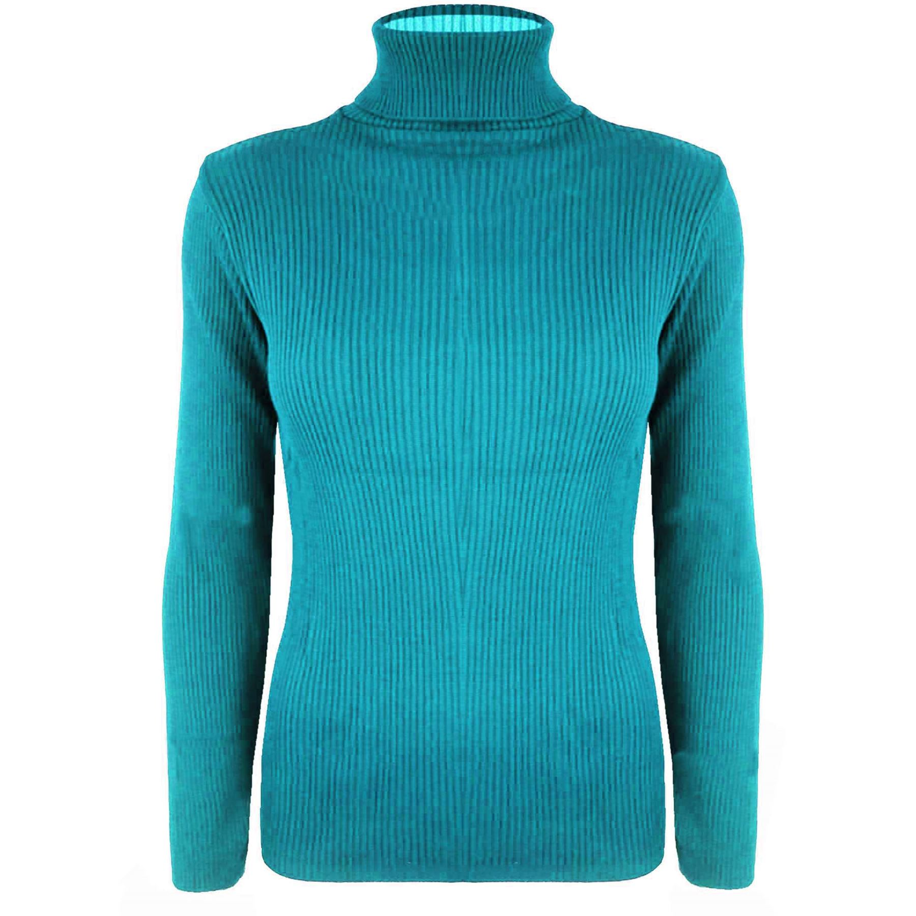 Womens ladies turtle polo neck long sleeves ribbed sweater for What is polo neck t shirts