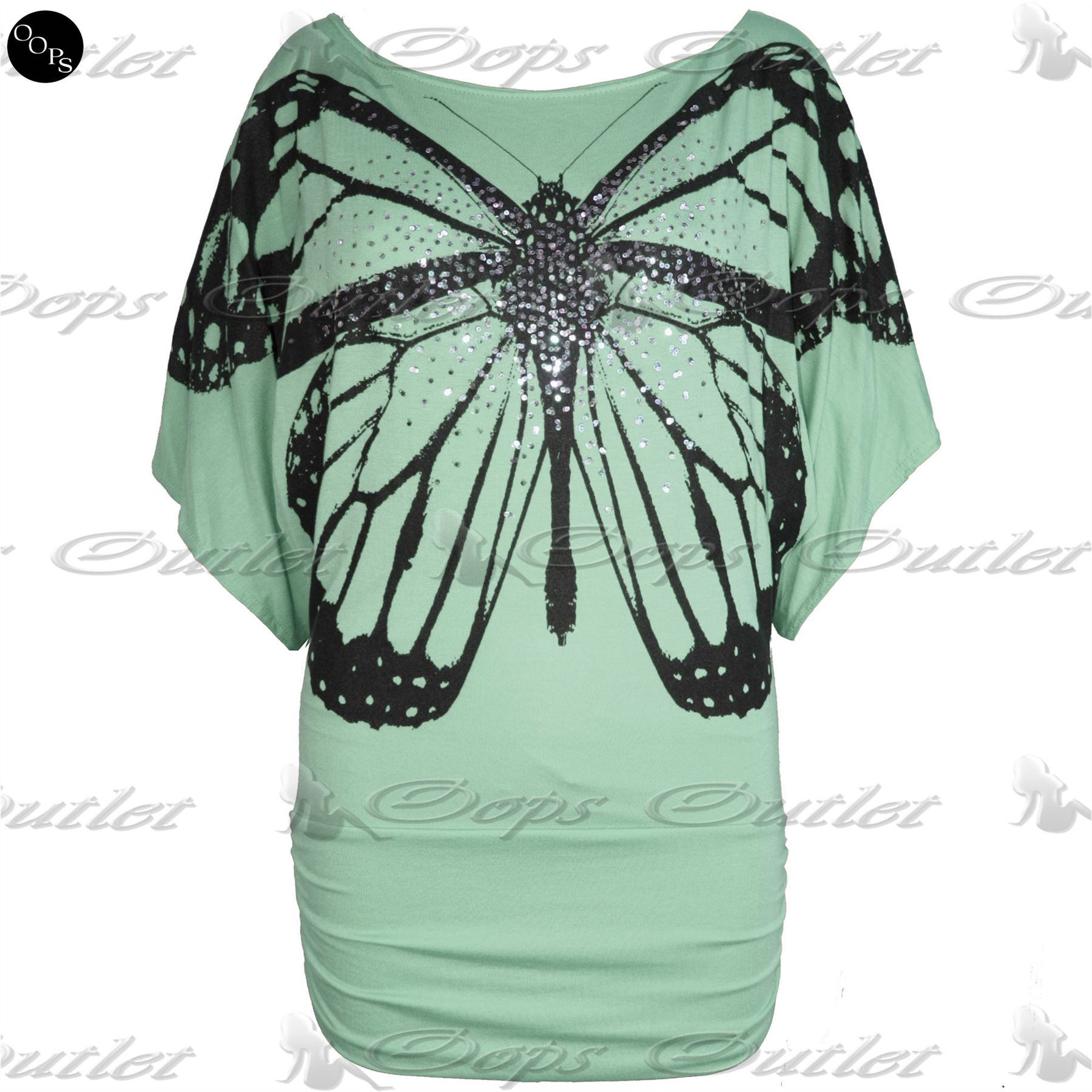 Womens-Off-Shoulder-Ladies-Celeb-Print-Sequin-Butterfly-Batwing-Side-Ruched-Top