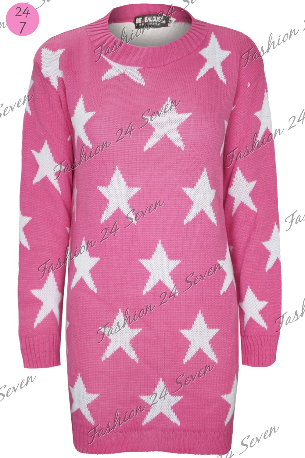 Womens Ladies Celebrity Seeing Stars Print Knit Tunic Long Sweater Jumper Dress