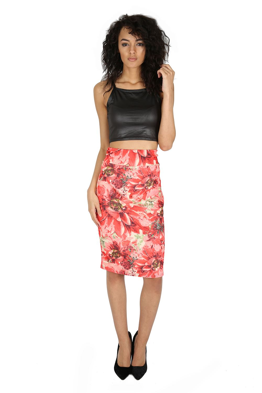 womens printed hi waist stretchy bodycon