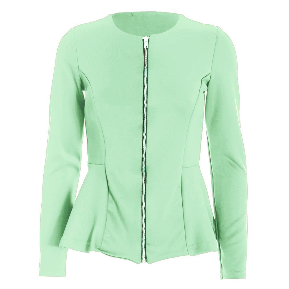 Womens Tailored Zip Up Ladies Long Sleeves Peplum Ruffle Frill Jacket Blazer Top