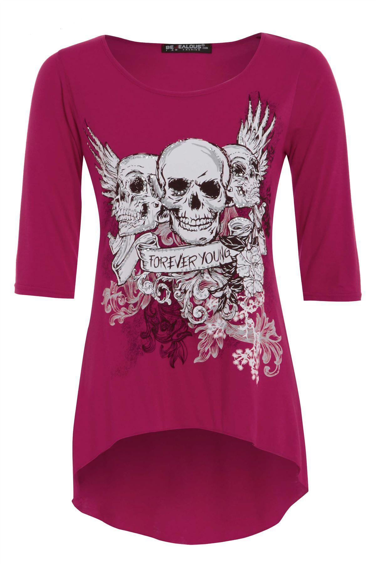 Womens Ladies 3/4 Sleeves Skull Print Dip Hem High Low Tunic Top Plus Size